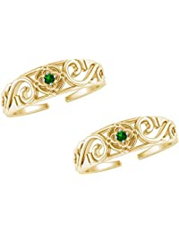 Jewels Exotic Fashion Toe Rings In 0.02 CT Green Emerald 925 Sterling Silver 14K Gold Finish