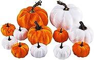 12 قطعة من اليقطين المخملية الاصطناعية المتنوعة باللون الأبيض والبرتقالي الزخرفية القرع وهمية لعيد الهالوين ال