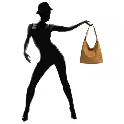 CASPAR TS1015 Damen Vintage Schultertasche Cognac