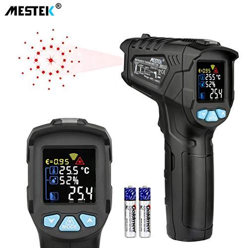 Infrarot Thermometer MESTEK Temperaturmessgerät IR Pyrometer Laser Digital Thermometer -50°C bis 800°C Berührungslos mit Farbe lcd Alarmfunktion Einstellbarer Emissionsgrad Küche Drinnen/Draußen -