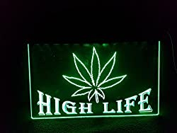 HIGH LIFE Leuchtschild LED Neu Schild Laden Reklame Neon Neonschild BAR DISCO Marijuana Gras