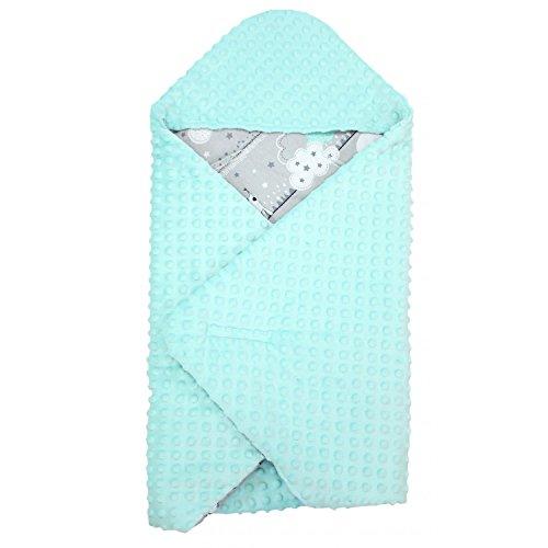 TupTam Baby Sommer Einschlagdecke für Babyschale, Farbe: Bärchen Mint, Größe: ca. 75 x 75 cm
