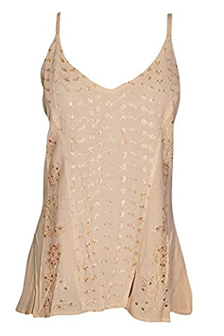 Mogul Interior Womens Tank Top Beige Embroidered Hippie Flare Cami Blouse S