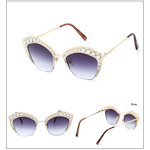 Z&HA Womens Crystal verschönert Sonnenbrille Glittered Metal Frame Fashion Eyewear UV400,06