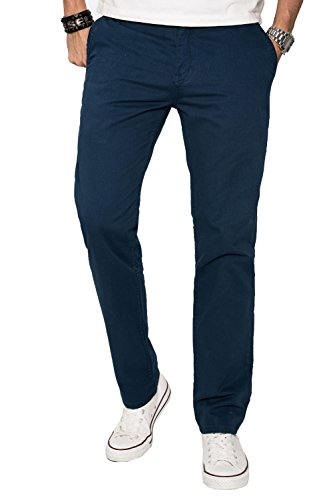 A. Salvarini Herren Designer Chino Stoff Hose Chinohose Regular Fit AS016 [AS016 - Petrolblau - W36 L32]
