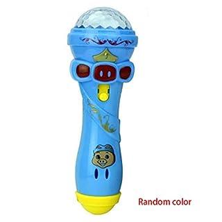 Rekkles Children Cartoon Lighting Microphone Mic Karaoke Stick Light Projector Children Gift Toy Random Color