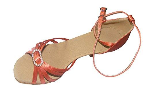 Pobofashion Hautfarbene/apricotfarbene Satin-Damentanzschuhe mit elegantem Diamantring für lateinamerikanische Tänze (EU37, apricotfarben)