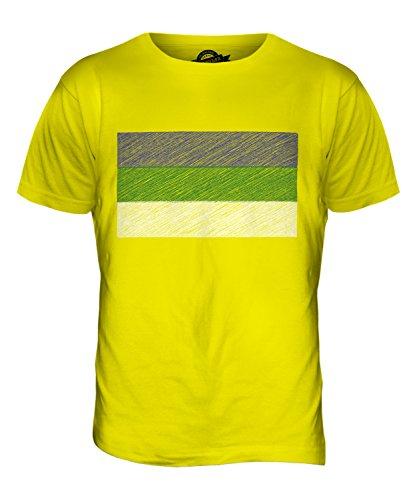 CandyMix Komi Bandiera Scarabocchio T-Shirt da Uomo Maglietta Giallo Limone