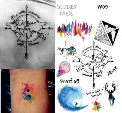 Linien Tattoo Wasserfarben Aquarelle Fake Tattoos Flash Tattoos Landkarte Hirsch Hope grafische...