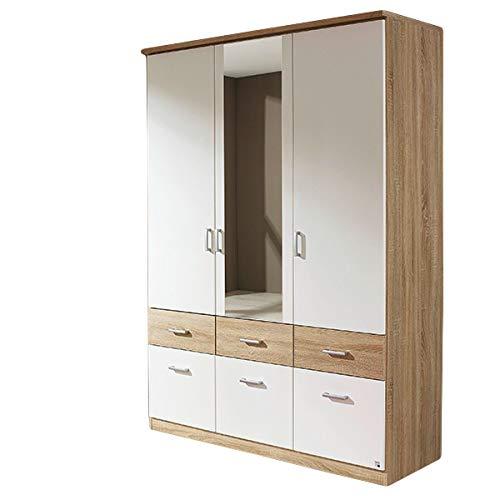 Kleiderschrank weiß/grau 3 Türen B 136 cm Eiche Sonoma Schrank Drehtürenschrank Wäscheschrank Kinderzimmer Jugendzimmer