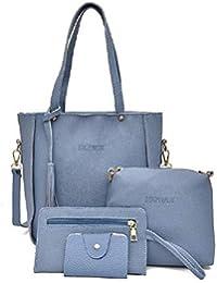 Sfit Damen 4 in 1 Handtasche Set Geldbeutel Litschi-Muster Handytasche mit Quaste Rucksack PU Leder Schultertasche Umhängetasche Brieftasche