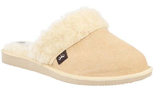 RBJ Damen Velours Leder Pantoffeln mit Wollinnenfutter – Atmungsaktiv, Warm und Gemütlich – im Geschenkkarton - Geschenkideen (36, Beige) (Lammfell-futter)