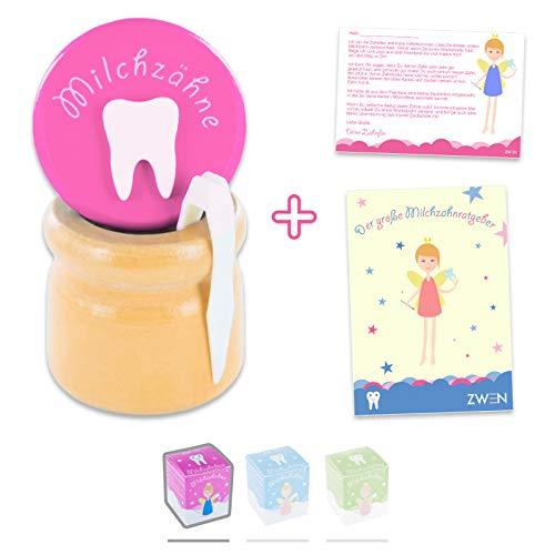 ZWEN MILCHZAHNDOSE Holz Schraubverschluss, Pinzette & Zahnfee-Brief + E-BOOK // Milchzahnbox für Mädchen & Jungen (Pink)