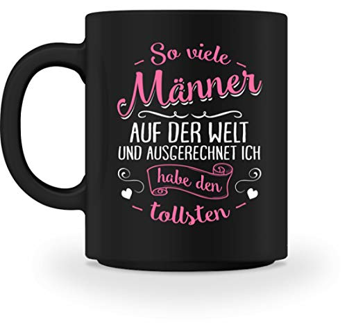 shirt-o-magic Ehemann: Tollster Mann der Welt - Tasse -M-Schwarz