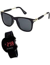 Y&S Unisex Aviator Sunglasses Combo with Case (YSBELTPURSE002, Black)