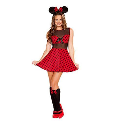 Ropa Erótica para Mujer Nuevo Halloween Cosplay Minnie Mouse Disfraz para Adultos Ropa para Niñas Bebés Vestido Sin Espalda Con Sombreros @ Red_One_Size