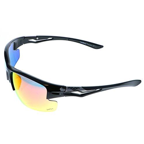 VertX Leicht Haltbar Herren & Damen Athletik Sport Sonnenbrille Radfahren Laufen w/GRATIS Mikrofaser Tasche - Schwarzer Rahmen - Orangefarbenes Glas (Baseball-softball-taschen)