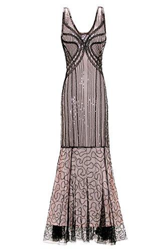 Metme Damen wilden 1937er Jahre Gatsby ärmellose Pailletten Perlen lange Flapper Kleid für Abschlussball (Fantastisches Prom-kleid)