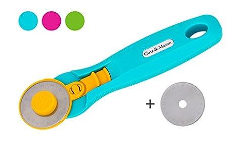 Rollschneider Set mit 1 gratis Ersatzklinge. Stoffschneider 45mm mit Klingenschutz in Pink, Blau, Grün. Stoffroller zum Stoff schneiden