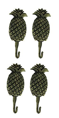 Chesapeake Wandhaken Ananas, Gusseisen, Schwarz/Gold, 4 Stück