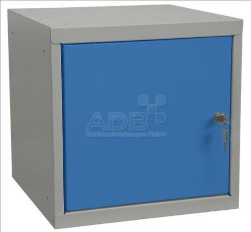 ADB Wertfach-Schrank Schließfach-Schrank Spind Würfel Zylinderschloss 40x40x40cm Lichtgrau (RAL 7035) / Lichtblau (RAL 5012)