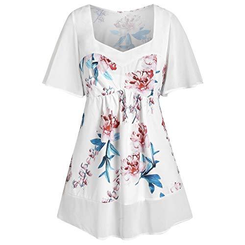 QingJiu Frauen Plus Größen-Art- und Weise Blumen Gedruckte V-Ansatz Kurzschluss-Hülsen-Oberseiten-Beiläufige Bluse