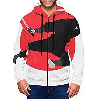 Long Sleeve Hoodie Print Cartoon Ninja Style Jacket Zipper Coat Men's Sweatshirt Full-Zip S-3xl-Medium-