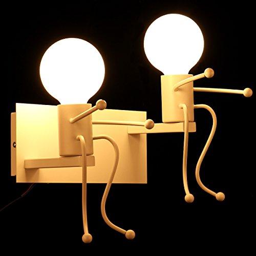KAWELL Kreative Vintage Wandleuchte LED Industrie Retro Wandlampe Schwarz Eisen E27 Halter Innen Art Deco für Bar, Schlafzimmer, Küche, Restaurant, Café, Flur, Weiß x 2