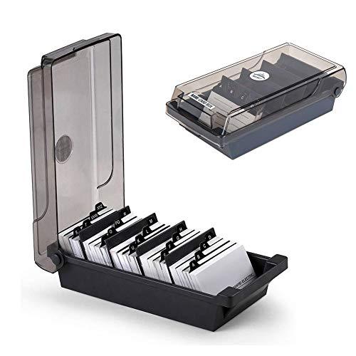 SUNSHINETEK Caja para tarjetas de visita Caja de 500 tarjetas Tarjeta de visita para escritorio Caja de tarjeta Organizador Con 4 Tablas divisoras y pestañas de índice A-Z, Negro Especificación Material: plástico ABS Tamaño: 5.0x9.6x3.0 pulgadas Capa...