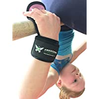 Freedomstrength - Protectores de gimnasia para la palma de la mano con correa acolchada para la muñeca, con velcro, azul, Large