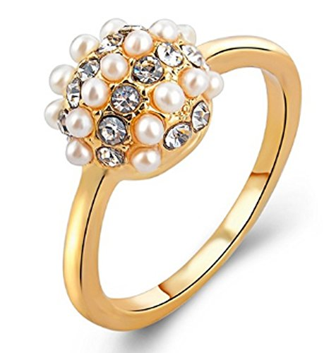 SaySure - Austrian Crystal Simulated Pearl Wedding Rings (SIZE : 8)