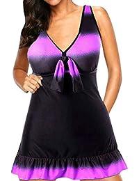 9a12f2a8c28d6 Emmay Damen Badeanzugkleid Ärmellos V-Ausschnitt Farbe Gradient Bikini  Wesentlich Badeanzug Lässige Urlaub Strand Bademode