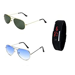 Sunglasses for Womens with Black Led Band Watch (CMB0-015)(Silver Blue- Golden Green)