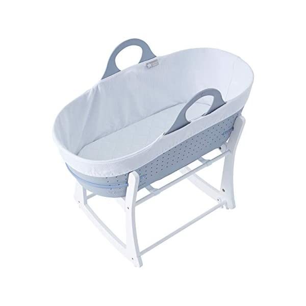 Tommee Tippee Sleepee Baby Moses Basket and Rocking Stand Grey Tommee Tippee Safe, modern, portable baby moses basket, perfect to keep your newborn baby nearby as they sleep, day or night. your sleepee moses basket comes with complete with mattress, liner and rocking stand. Choose static or rocking position, the curved base on the stand allows you to gently rock your baby to sleep and features adjustable safety stops to give you the option of rocking or keeping it still. Easy to clean, the sleepee moses basket can be cleaned with warm soapy water. the water-resistant mattress cover is wipe clean and machine washable. the 100 % cotton liner is machine washable. 1