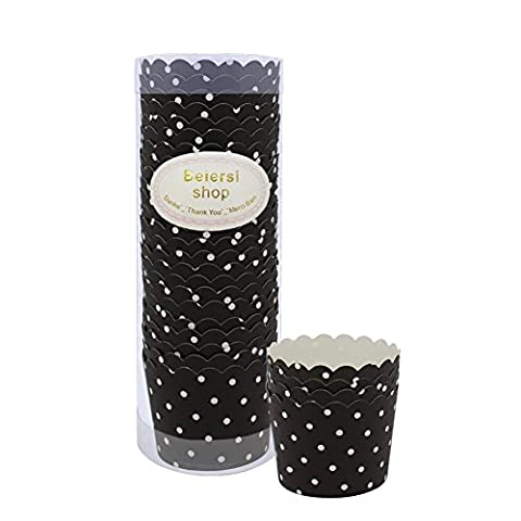 Beiersi Point d'onde Paper Cake Cup Cupcake Cases Liners Muffin Cuisine Baking Wedding Party Bake The Cake Cup 24pcs (Noir)