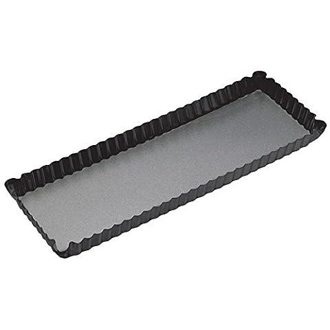KitchenCraft MasterClass Non-Stick Fluted Rectangular Tart Tin/Quiche Pan with Loose Base, Black, 36 x 13