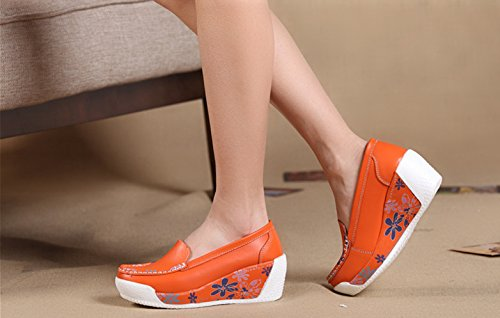 Cystyle Leder mit Mustern Plateau Keilabsatz Loafers Slipper Freizeitschuhe Orange