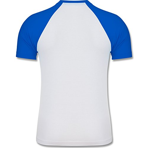 Wildnis - Keep on moving - zweifarbiges Baseballshirt für Männer Weiß/Royalblau