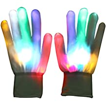 Vicloon Guanti LED Guanti Skeleton Singolo Luce Color Show Mano con 7 Colori di Luce per Discoteca, Rave, Compleanno ecc.