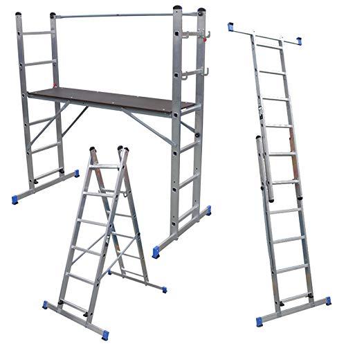 Escalera multiusos con plataforma y andamio de 5 vías, plataforma de trabajo