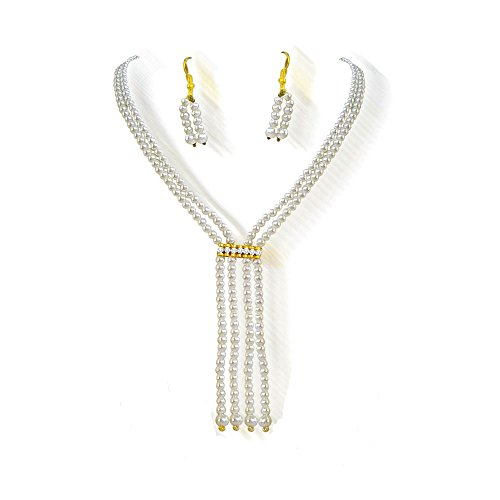 2 Line Contemporary Shell Pearl Necklace & Earring Set for Women (PS81NE)  available at amazon for Rs.169