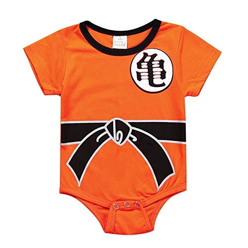 Saicowordist Dragon Ball Anime Cosplay Kurzarm/Langarm Baby Strampler Kostüm Cartoon Schöne Overall Baby Kleidung(80 OR2) (Baby Goku Kostüm)