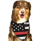 Sdltkhy Red Thin Flag Firefighter Pet Dog Cat Bandanas Triangle Bibs Pet Scarf Dog Neckerchief Headkerchief Pet Accessories