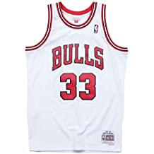 Mitchell & Ness Chicago Bulls 33 Scottie Pippen Swingman - Camiseta, diseño Retro, Blanco