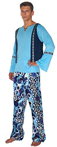MAYLYNN 14110-L - Hippie Kostüm Zac 60er 70er Jahre 4-teilig Herren, Größe ()