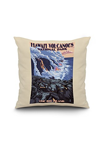 The Big Island, Hawaii - Lava Flow Scene (18x18 Spun Polyester Pillow case, White Border)