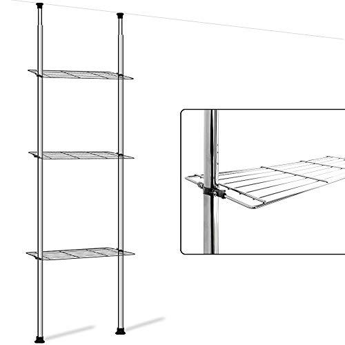 100700 Badregal ohne Bohren Teleskopregal 3 Ablageböden Höhenverstellbar bis 270 cm verchromter Stahl Badezimmer Regal