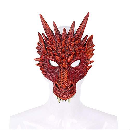 Wbdd Maske 2019 Neueste Ankunft Mardi Gras Halloween Karneval Party Pu Schaum 3D Tier Drachen Maske Chinesischen Stil Drachen Beängstigend Beängstigend Maske rot (Rote Halloween-maske 2019)