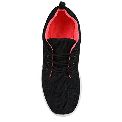 Damen Sportschuhe | Übergrößen | Trendfarben Runners | Sneakers Laufschuhe | Fitness Prints Schwarz Rot Weiss