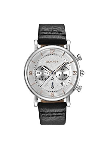Gant Springfield Men's Quartz Watch with Silver Dial Analogue Display and Black Leather Strap Gt007001